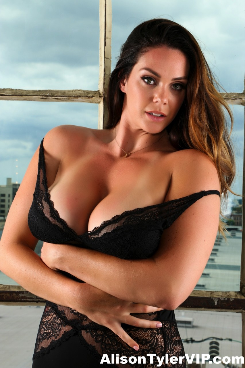 Thick solo girl Alison Tyler releases her big naturals from bodysuit