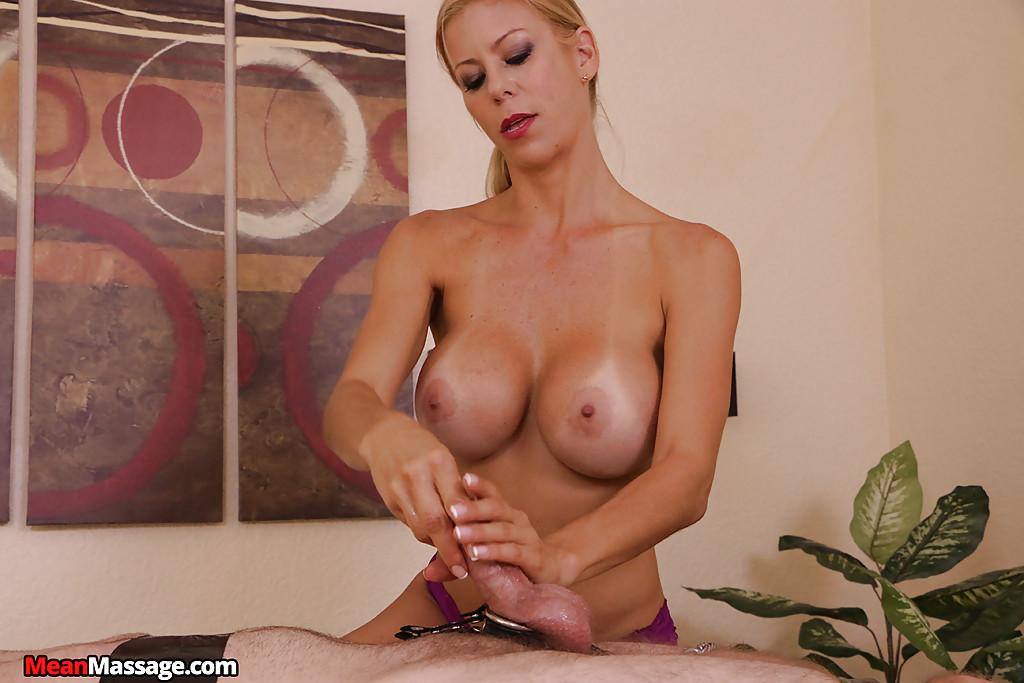 Busty blonde massagist face sitting bound man while giving femdom handjob