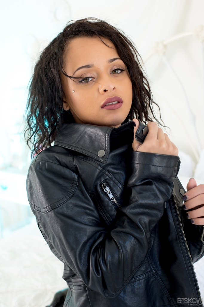 Young Latina female Holly Hendrix admires herself in mirror after undressing