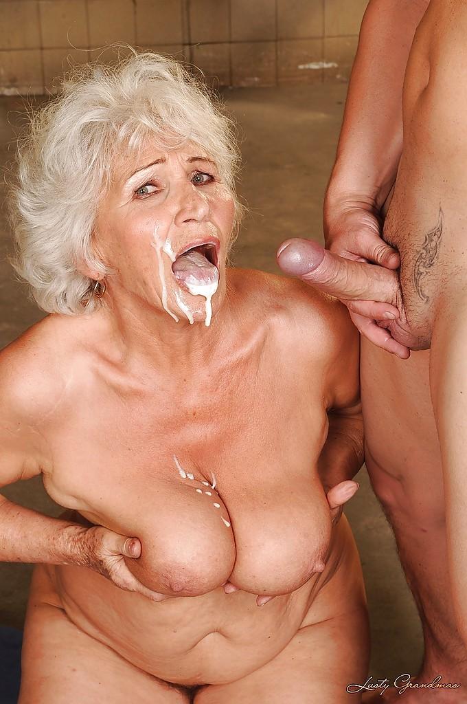 Busty granny gets facial