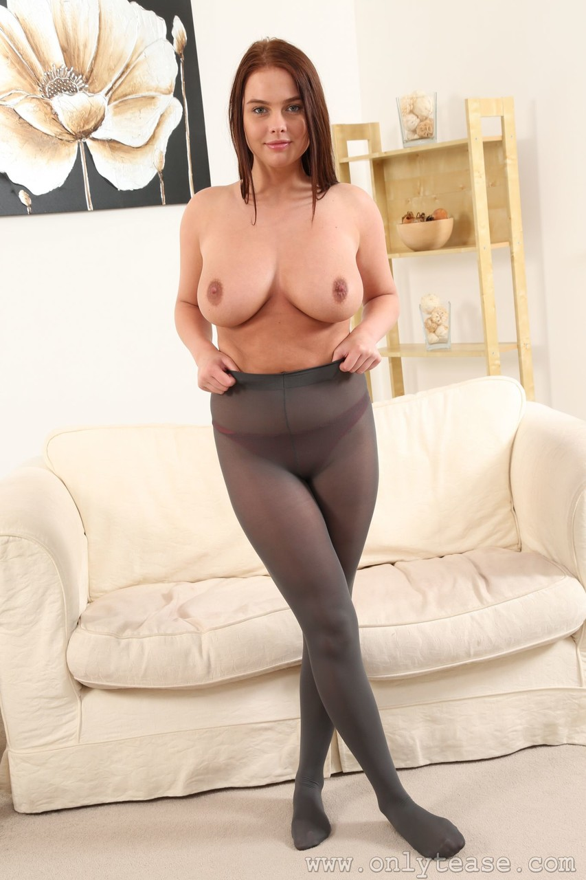 Curvy babe Kay displays her huge breasts and poses in see through nylons 44241642