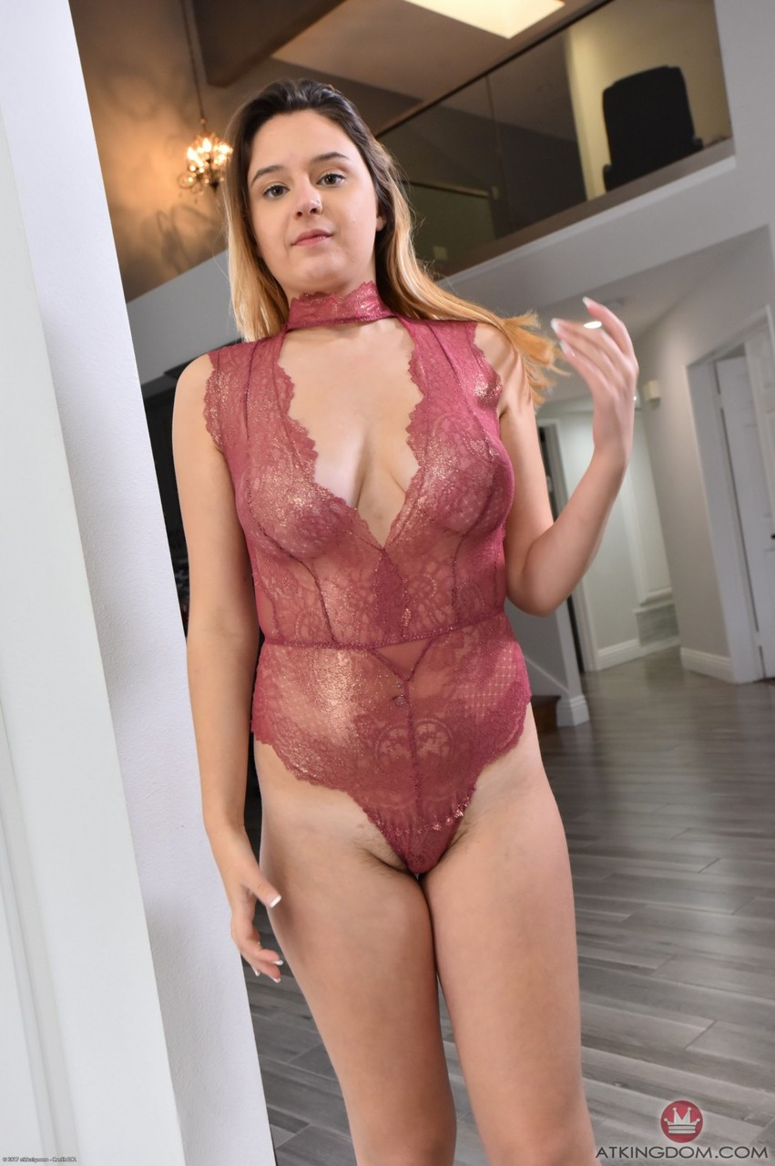Curvy Elektra Rose strips sexy bodysuit and shows her big ass hairy pussy 13269563