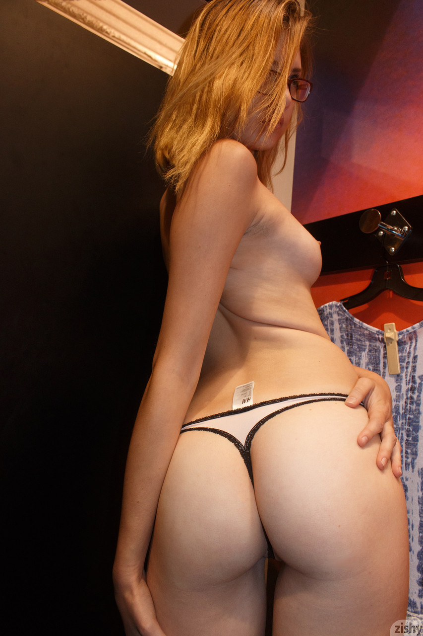 Teen in glasses Sloan Kendricks flashing her tits & her body in public