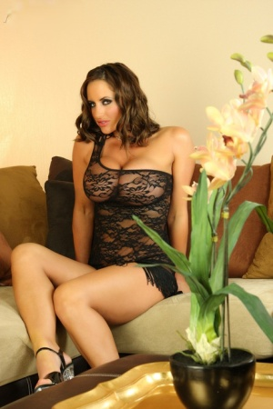 Hot pornstar Nikki Jackson licks her nipples and fingers in sexy sheer lace