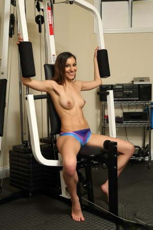 Sports girl Moka Mora working out her horny pussy with big toys at the gym