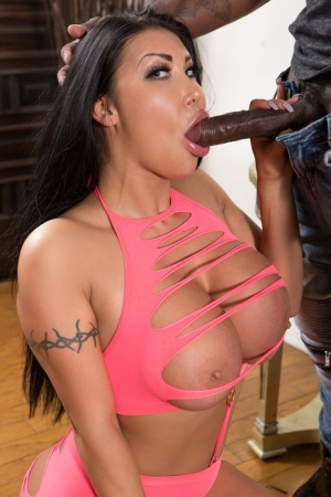 Stunning hot Latina in knee boots gets round huge tits covered in BBC cum