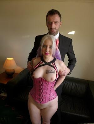 Hot blonde slut Eve Adler peels her latex pants to reveal her big fat ass