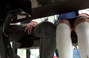 Sexy teen brunette in socks & skirt gets on her knees for hot facial cumshot