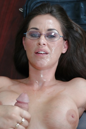 Lewd teacher in glasses gets fucked and facialized by her hung student