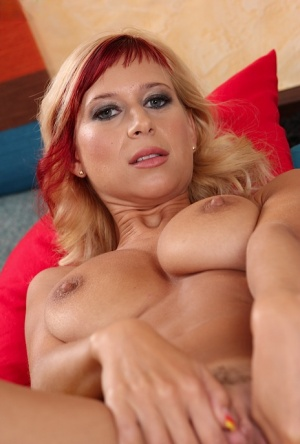 Anastasia Devine is horny blonde milf with inviting holes and big ass
