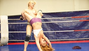 Lesbian babes Celine Doll and Aleska Diamond are in a catfight