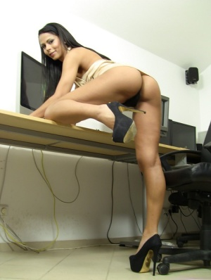 Smooth latina brunette with a big ass Izabella undressing that cute body