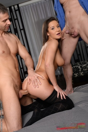 Double penetration in threesome sex with big tits girl Myrna Joy