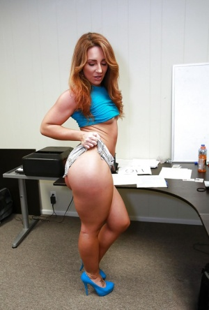 Office posing scene with a tiny tits pornstar babe Savannah Fox