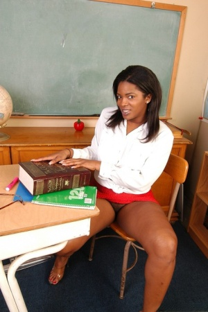 Black BBW Annabelle showing off her big black butt in the classroom