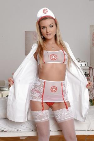 Babe Jemma Valentine looking hoot in high heels and nurse uniform