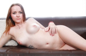 First timer Leigh Rose shows off big boobs for casting couch audition