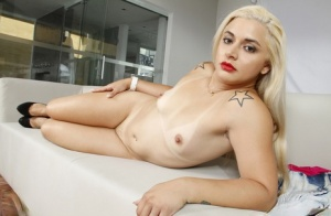 Chunky Brazilian blond Monica Lima flaunting phat ass and spreading pussy