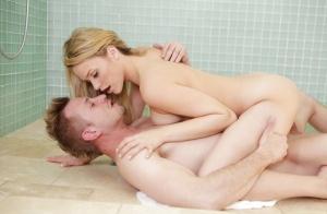 Beautiful blonde pornstar Mia Malkova enjoying a fat cock in the shower