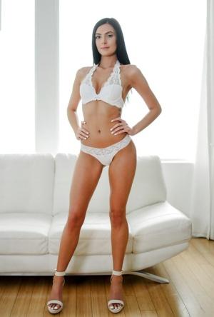 Leggy brunette Marley Brinx posing in matched bra and panty set
