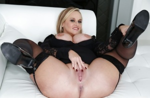 Blonde BBW in glasses Naughty Alysha unleashing her big breasts