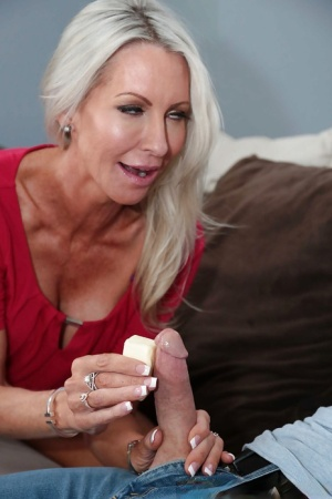 Blonde Milf Footjob Blowjob