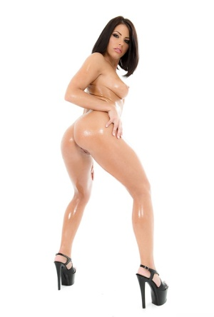 Brunette solo girl Adriana Chechik reveals oiled ass and hairy bush