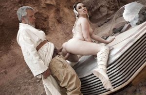 Cosplay pornstar Jennifer White takes hardcore banging of bald twat outside