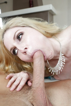 Busty blonde mom Christie Stevens licking big dick with tongue during bj