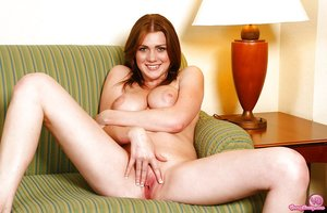 Big boobed babe shedding panties for masturbation session in socks
