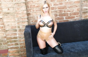 Hot blonde Isabella Clark shows cunt in crotchless panties and latex boots