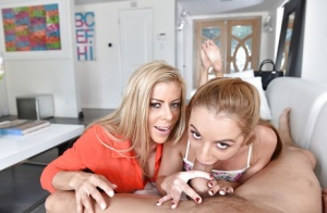 Teen baby sitter Alexis Fawx and pornstar Alexis Fawx give ball licking BJ