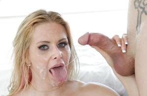 Busty blonde MILF Rachel Roxxx jacking off big dick before messy cum facial