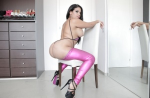 Sultry Latina Kesha Ortega releasing big booty from metallic mauve pants