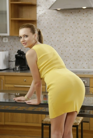 Super hot Euro babe Emily Thorne pulls down her thong exposing a flawless body