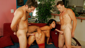 Brunette Latina Eva Angelina getting fucked by 2 dudes with huge cocks