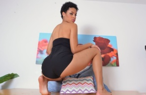 Black amateur Amethyst Banks shows off bare ass and wide open pussy