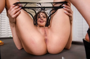 Sweet Euro model Elena Koshka slips off her sheer crotchless panties