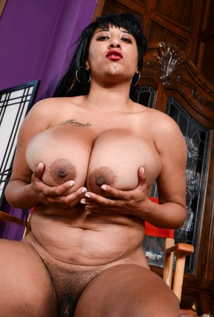 Thick ebony amateur Danni Lynne uncovers knockers and spread twat in a chair