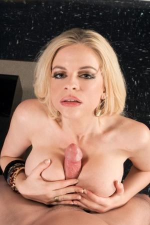 Blonde MILF Jayden Prescott switches from ball sucking oral sex to a tit fuck