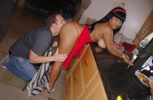 Ebony plumper Stacey Monroe ends up with cum on her big butt after fucking