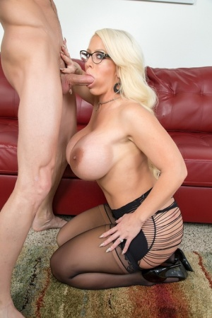 Big titted blonde pornstar Alura Jenson gets chipmunked while giving a blowjob