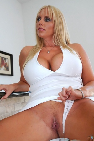 Milf Fatty Karen Fisher spreads her legs in dress hugging her big tits