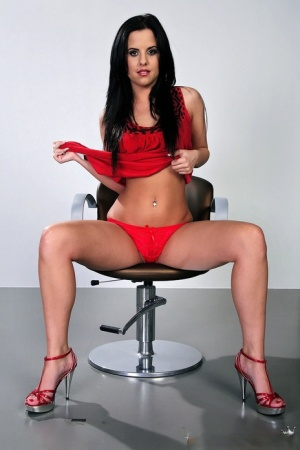 Sultry european brunette Betty Six showing her perfect booty