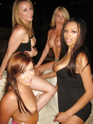Hot ebony babe Bethany Benz getting naughty at the party with her friends