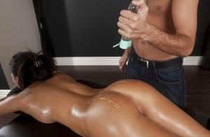 Horny asian babe with sexy ass Asa Akira fucks a masseur's big cock