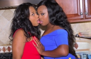Hot ebony MILF Yasmine Loven and her friend stripping and posing together