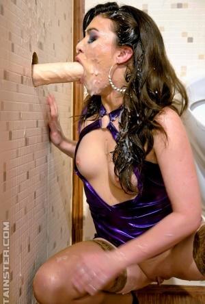 Lusty european babe Tiffany Doll gets bukkaked with fake jizz