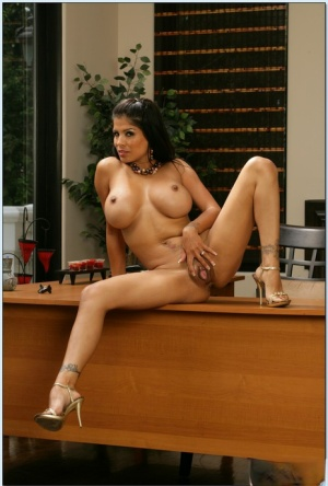 Busty latina wife Alexis Amore strips in the office shamelessly