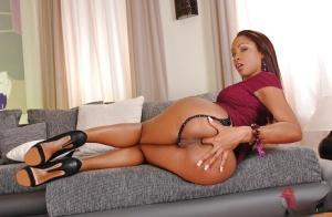 Sexy ebony babe showcasing her amazing fanny and fingering her asshole
